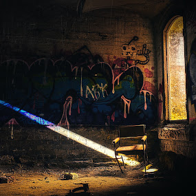 Urban life..  by Chris Gonzalez - Buildings & Architecture Decaying & Abandoned ( chair, window, graffiti, bricks, light, Chair, Chairs, Sitting )