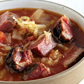 Autumn Cabbage And Smoked Meat Borscht.