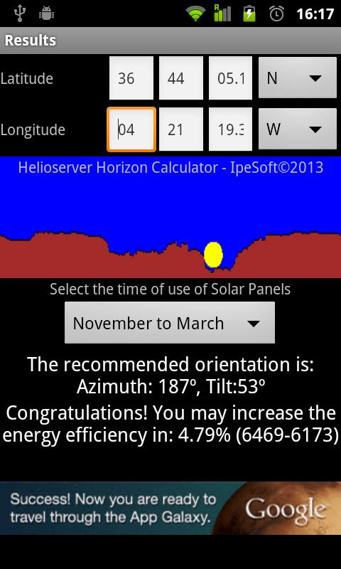 Helioserver Horizon Calculator - screenshot