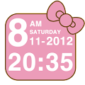 Pink Kitty bow Clock Widget