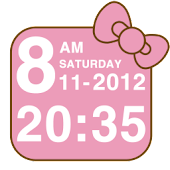Pink Kitty bow Clock Widget