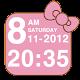Kitty pink bow clock widget