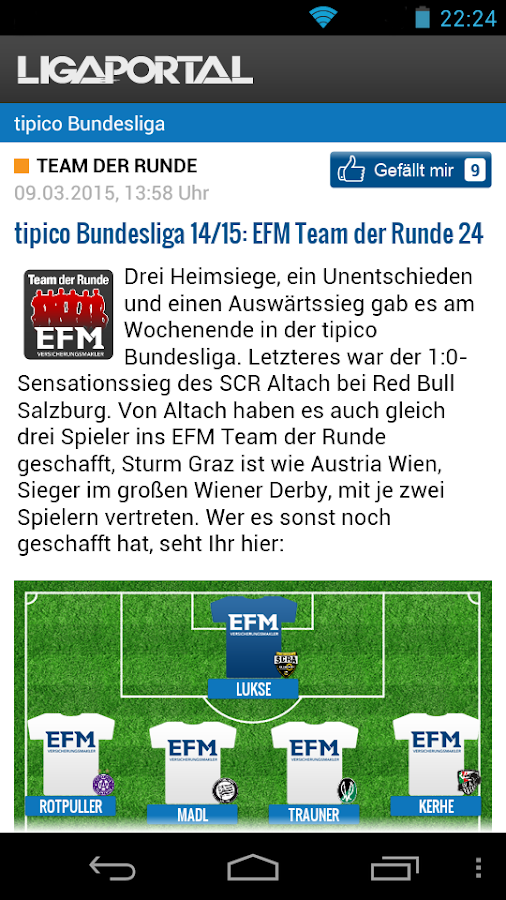 Ligaportal Fußball Live-Ticker- screenshot