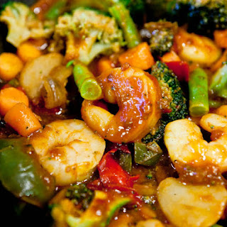 Szechuan Shrimp Stir Fry with Fried Rice (Gluten-Free).