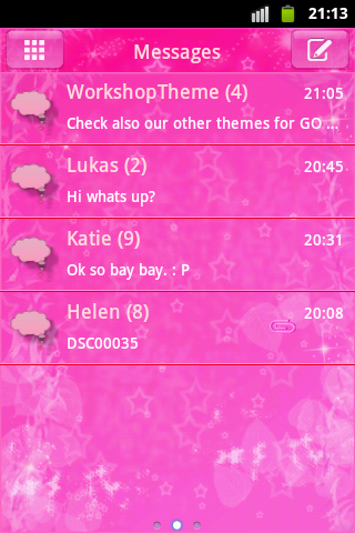 GO SMS Theme Pink Star Buy