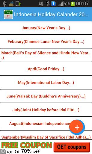 Indonesia Holiday Calendar2015