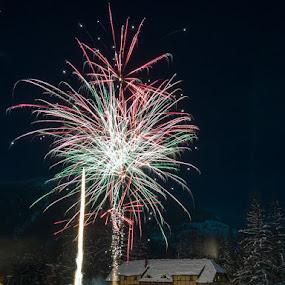 Happy new year! by Veronika Kovacova - Abstract Fire & Fireworks ( nature, montana, essex, fireworks, izaak walton inn, night, light, glacier national park )