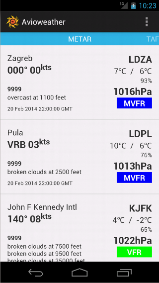 Avioweather - screenshot