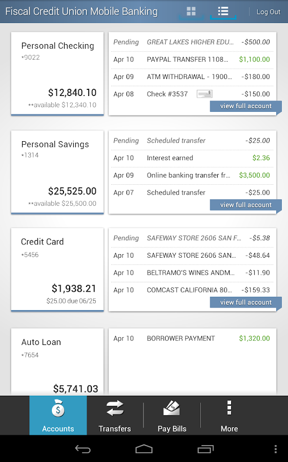 Fiscal Credit Union Mobile App - screenshot