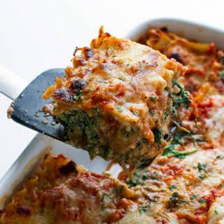 Skinny Mushroom Spinach Lasagna.