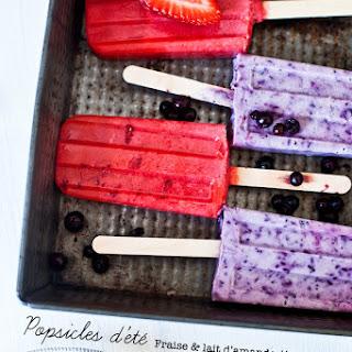 Summer Popsicles: Strawberry & Almond Milk and Blueberry Yogurt Greek & Lavender.