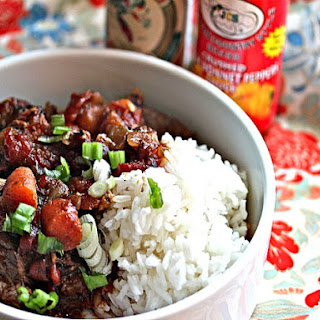 Jamaican Beef Stew with Rice.