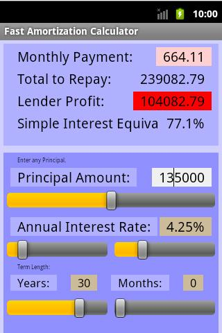 Fast Amortization Calculator- screenshot