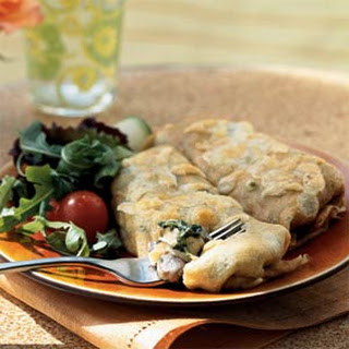 Chicken, Spinach, and Mushroom Crepes.