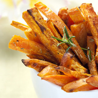 Baked Sweet Potato Fries with Buffalo Dipping Sauce.