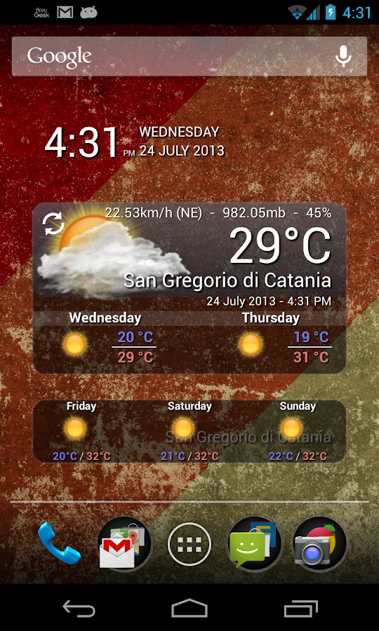 WeatherWidget - screenshot
