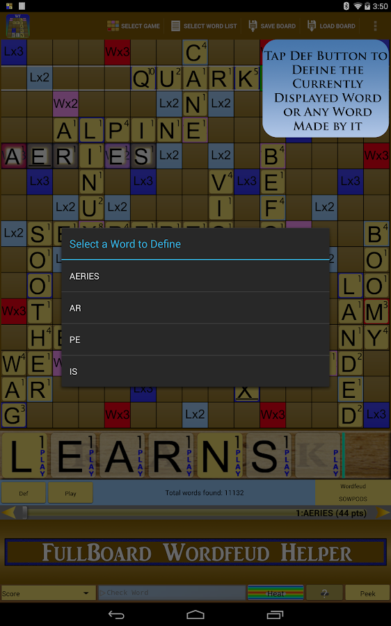 Wordfeud Solver Helper Trainer - screenshot