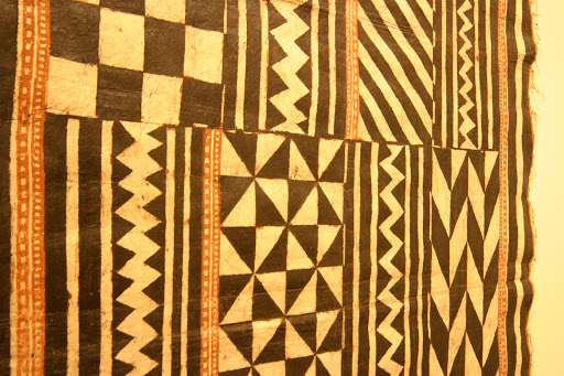 A Hawaiian/Polynesian cloth of tapa with a classic geometric pattern, seen at the Honolulu Academy of Arts.