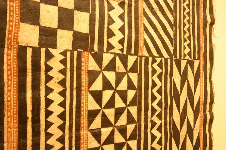 A Hawaiian/Polynesian cloth of tapa with a classic geometric pattern, seen at the Honolulu Academy of Arts.
