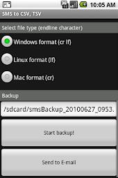 SMS Exporter to CSV, TSV