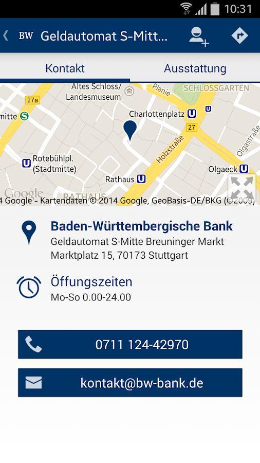 BW-Bank Filialfinder- screenshot