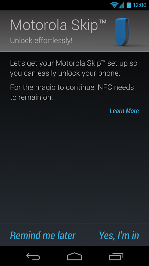Motorola Skip™ Setup- screenshot