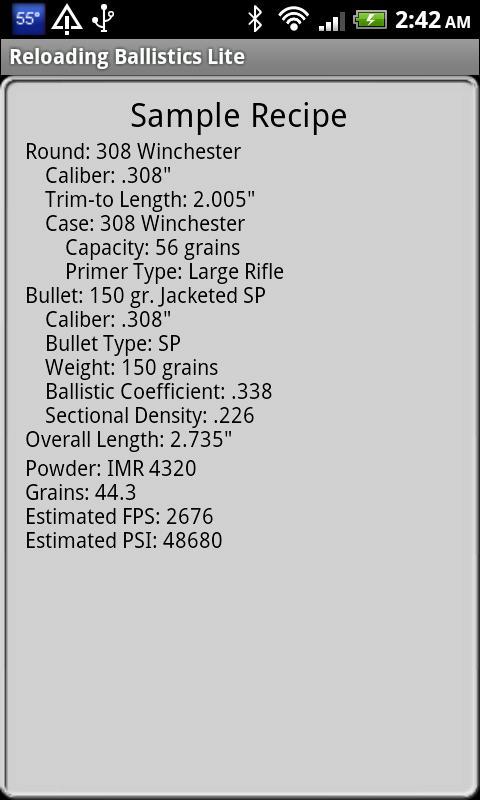 Reloading Ballistics- screenshot