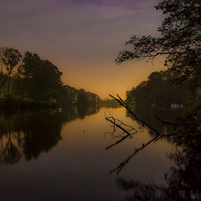Deal Lake, Asbury Park, NJ by Stanton Hunter - Landscapes Waterscapes ( water, night photography, lake, long exposure, deal lake, new jersey )