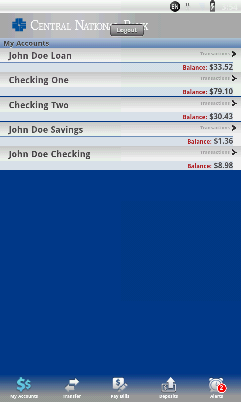 Central National Bank Mobile - screenshot