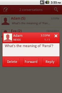 Easy SMS solid Red theme screenshot