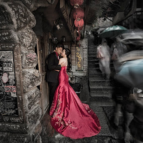 slow.love by Wee Heong - Wedding Bride & Groom ( love, red, taiwan, wedding, beautiful, romantic, gown, nikon, bride, masterpiece )