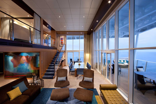 The Royal Loft Suite aboard Allure of the Seas offers guests a luxurious two-story stateroom with two-level panoramic views.
