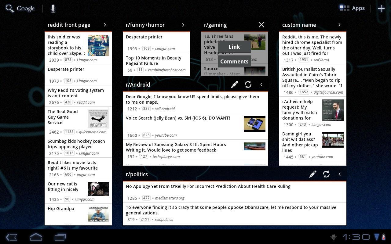 redditastic – reddit widget- screenshot