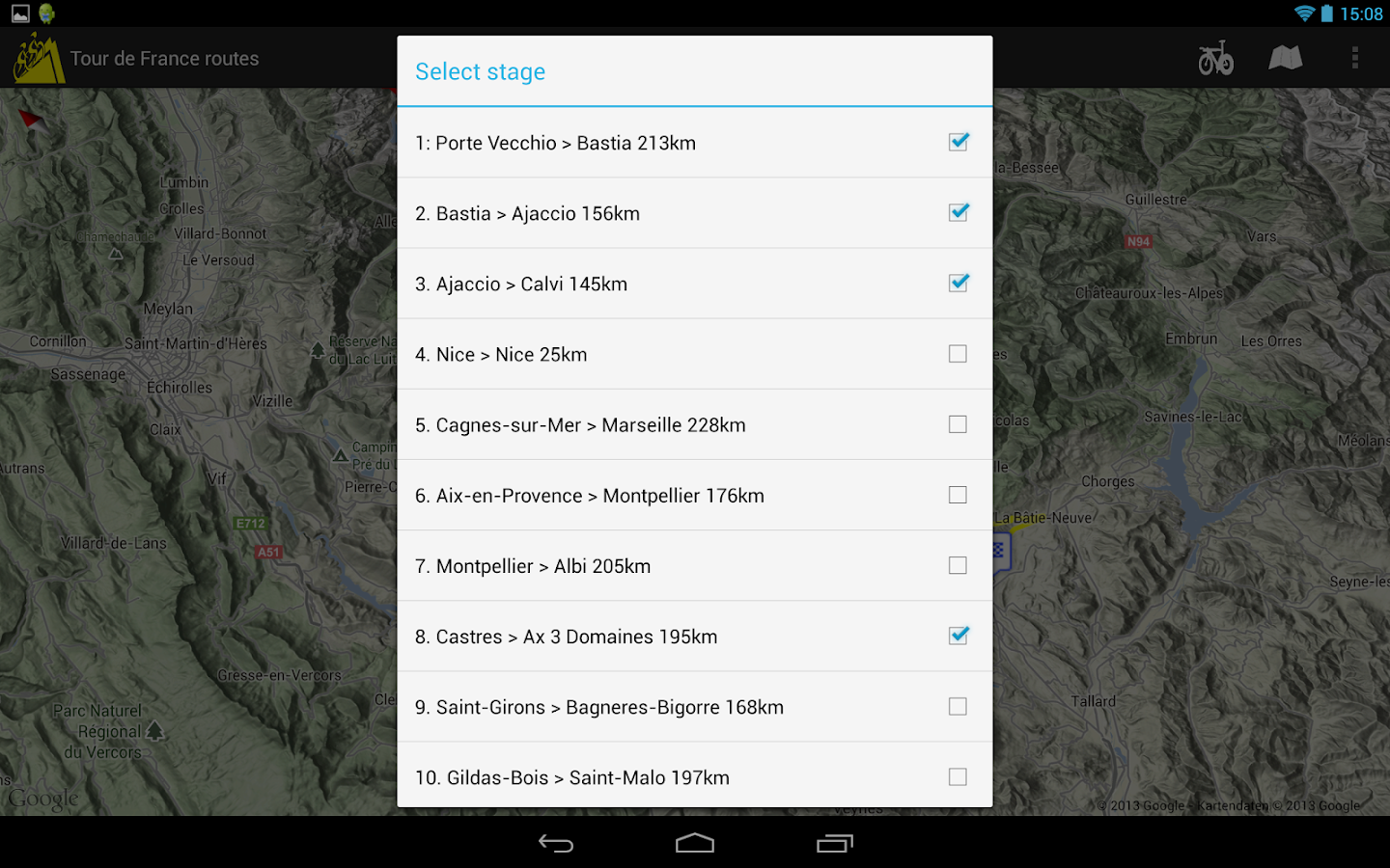 Cycling the Alps tour routes- screenshot