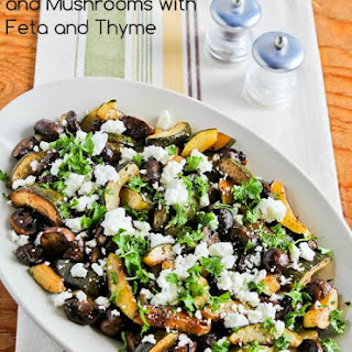 Roasted Balsamic Zucchini and Mushrooms with Feta and Thyme.