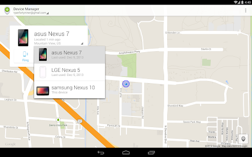 Android Device Manager: miniatura de captura de pantalla