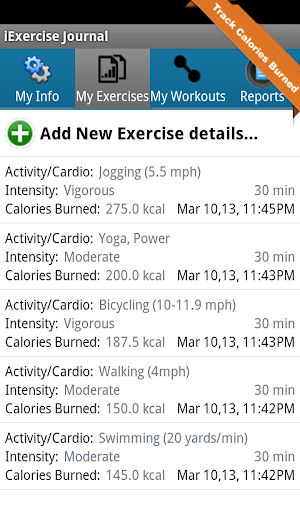 iExercise Journal -Fitness App