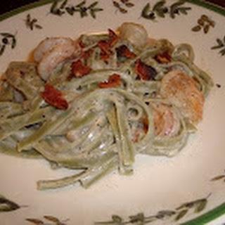 Shrimp and Spinach Fettuccine Alfredo.