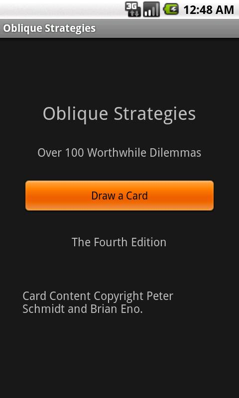Oblique Strategies- screenshot
