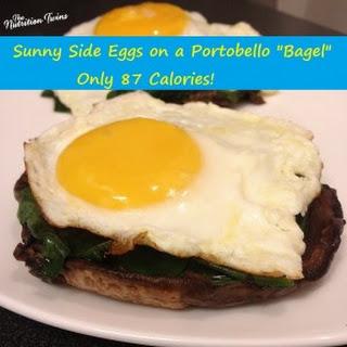 "Sunny Side Eggs on a Portobello ""Bagel"""