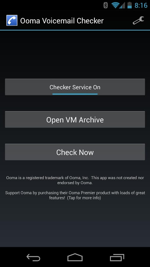 Ooma Voicemail Checker - screenshot