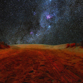 Starry Road by Bill Morris - Landscapes Starscapes ( sand, sky, stars, road, starry )