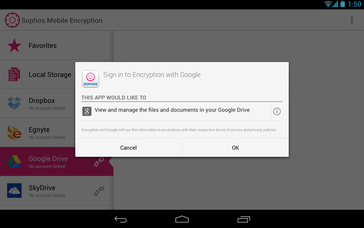 Sophos Mobile Encryption - screenshot