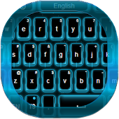 Neon Blue Galaxy Keyboard