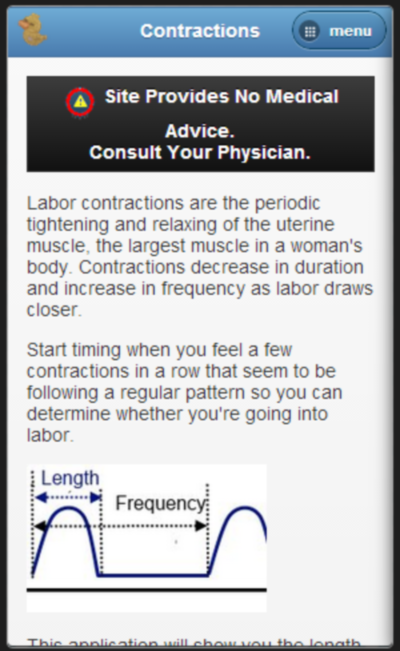Contraction timer for labor- screenshot