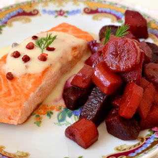 Salmon Pavé With Pear And Pink Pepper Velouté And Spicy Carrots