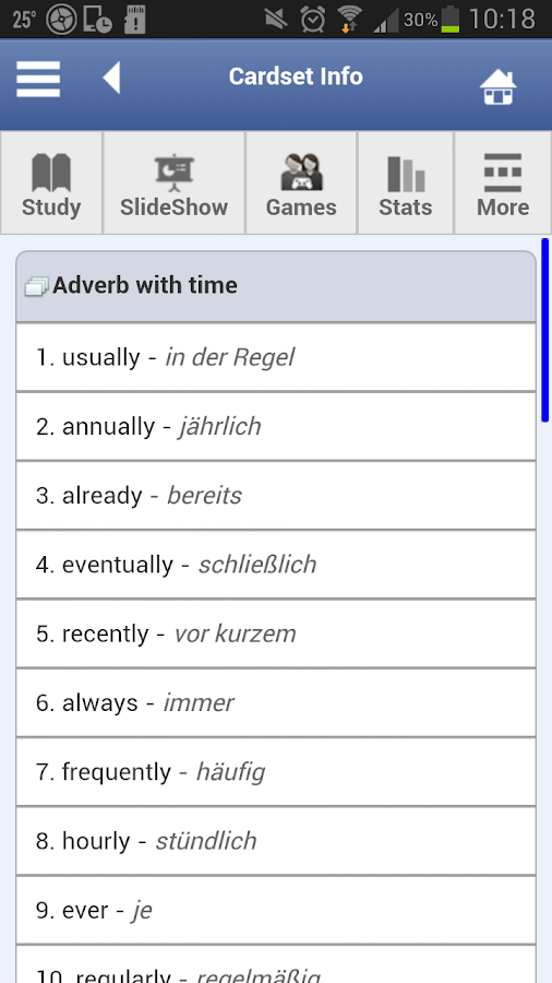 English - German Flashcards - screenshot