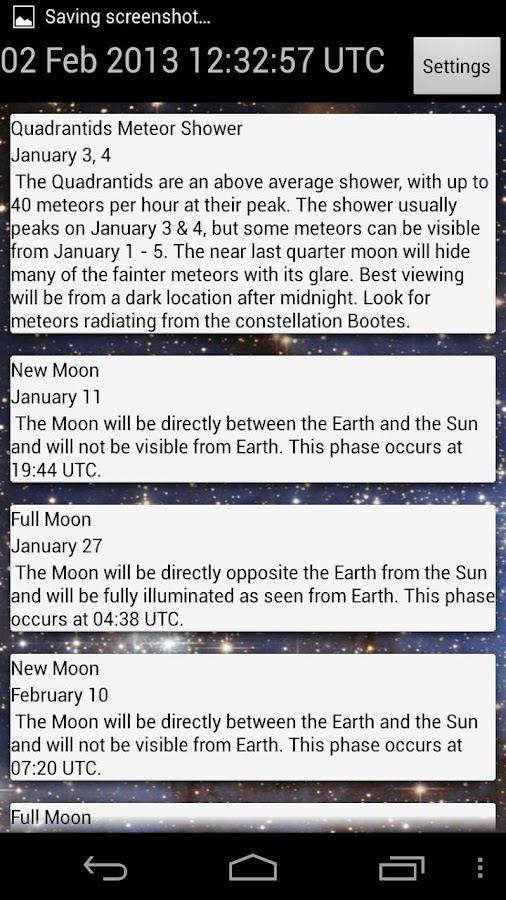 Astronomy Calendar - screenshot