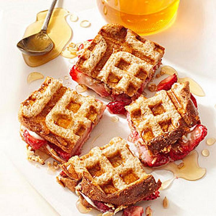 Strawberries and Cream Cheese Waffle Sandwiches Recipe