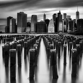 Downtown Manhattan by Chad Weisser - Black & White Buildings & Architecture ( new york skyline, weisser photography, manhattan, long exposure, dumbo, nyc, brooklyn,  )